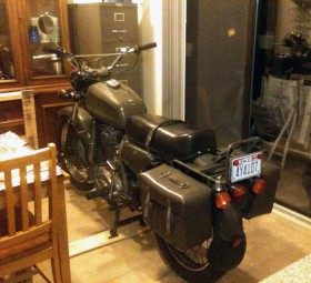 Michael McFarland's Condor A350 Motorcycle in his kitchen