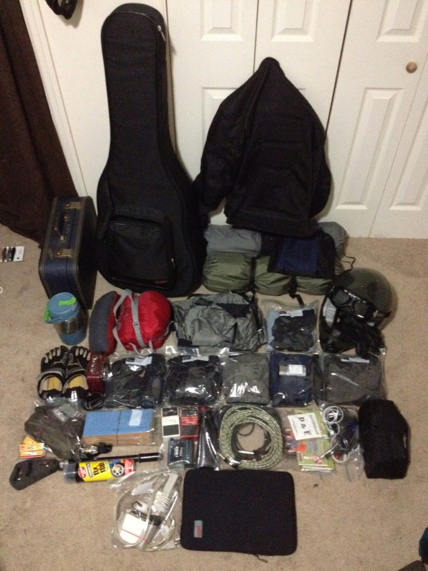 What Michael McFarland loads on his Condor A350 when touring on his motorcycle.