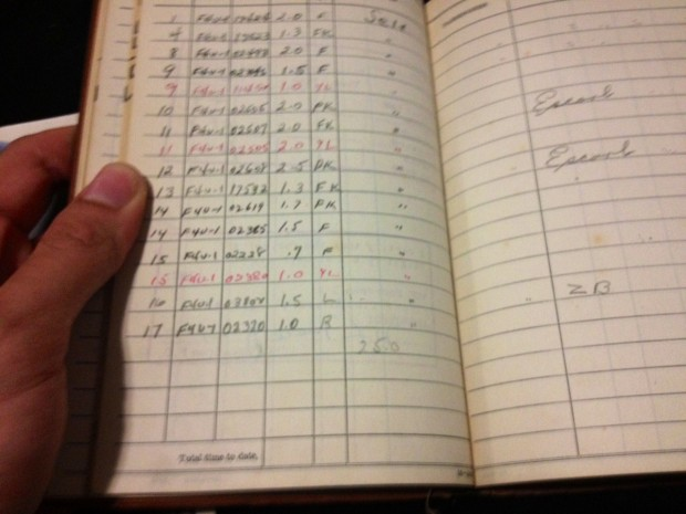 The final entry of the aviators flight log book belonging to George W Grill, great uncle of Michael McFarland